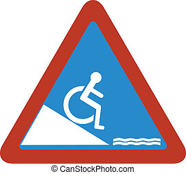 handicape fall in water warning sig
