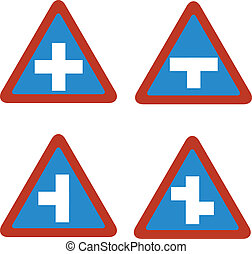 junction blue traffic sign triangl