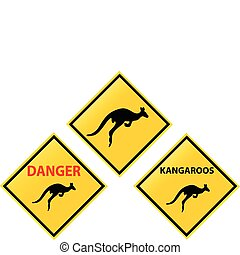 yellow road sign kangaroos