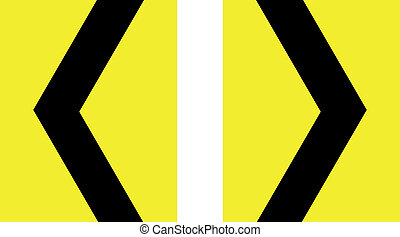 sharp curve chevron yellow sign vector illustration