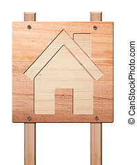 House icon  carved in of wood, isolated.