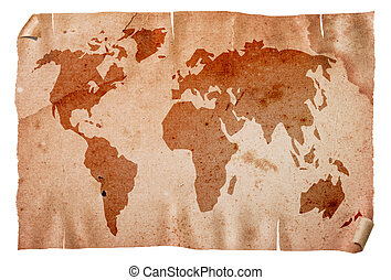 Vintage world map - Vintage grungy world map, isolated on...