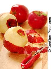 Pealing apples - Pealing freshly picked McIntosh apples in...