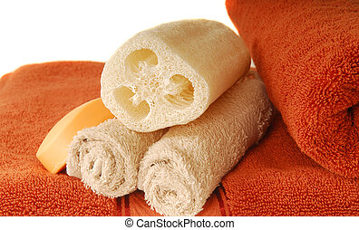 Towel, soap and loofah - Luxurious soft cotton towels with...