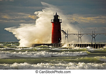 Wild Wave - Large wave slamming red lighthouse.