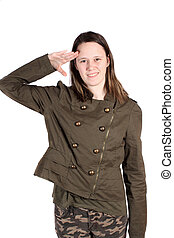 Young woman giving salute - Teenaged woman giving salute...