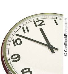 clock at five minutes to twelve