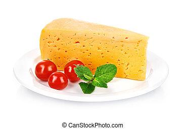 盤子, 葉子, 番茄, 黃色, 乳酪