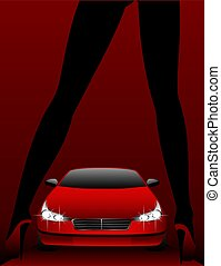 woman in  clothes and  car