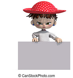 cute and funny cartoon doll with hat. 3D rendering with clipping path and shadow over white