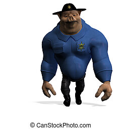 toon animal big pig as a policeman. 3D rendering with...