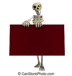 funny cartoon skeleton invites you. 3D rendering with...