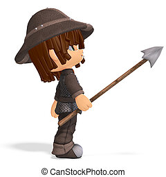 cute and funny cartoon guard. 3D rendering with clipping...
