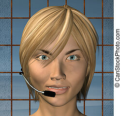 operator - Smiling customer support female operator with...