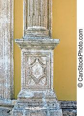 engraved pillar - Worn engraved church pillar at Keri...