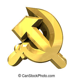 hammer and sickle symbol - 3d made hammer and sickle symbol