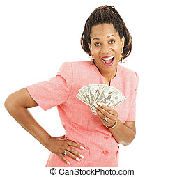 Cash Winner - Pretty african-american woman has just won a...