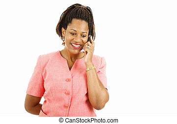 Pleasant Mobile Phone Conversation - Pretty african-american...