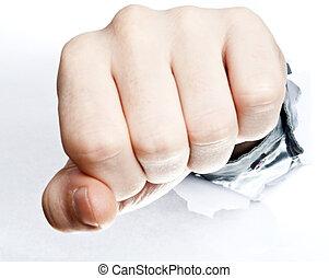 Fist broke paper - Male fist broke white paper