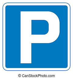 Parking sign - Blue parking sign isolated on white...