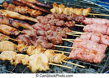 alimento,  Satay, tailandia, rua, grelhados