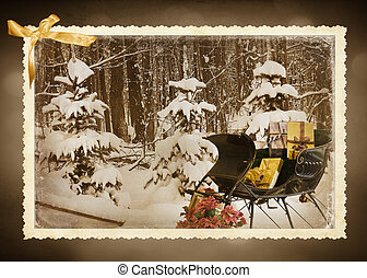 Vintage Holiday - Vintage sleigh with holiday gifts in...
