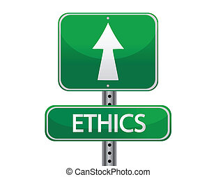 ethics street sign isolated over a white background