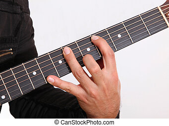 Guitar - Hand holding a guitar over white background