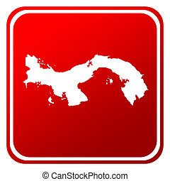 Panama red map button isolated on white background.