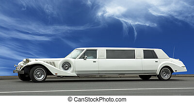wedding limousine over blue sky