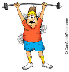 Man lifting barbell - Image of a Man struggling to lift a...