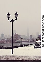 View of Empire State Building during the blizzard from NJ...