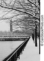 Hoboken train terminal on a snowy day - Trees covered with...