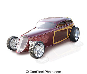 Custom 1933 Speedster Hot Rod on an isolated background