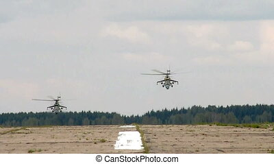 two helicopter take of air-field