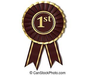 Dark red ribbon award.