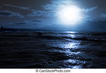 Beach evening - Moon rise over calm ocean