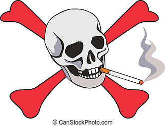 Cigarette with skull - dangeres of smoking concept