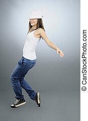 teenager dancing in studio