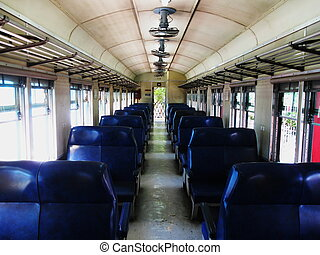 interior of a disused old train