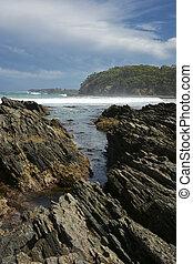 Rocky coastal. - Rocky coastal, sea and waves.