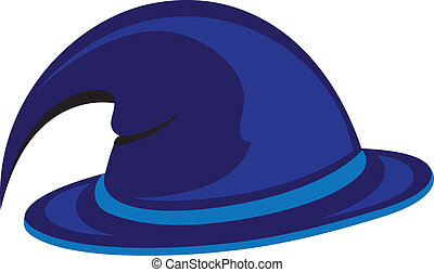 Witch hat - Blue witch hat Vector illustration on white