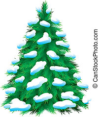 Green fur-tree covered with snow, isolated Christmas picture...