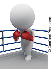 3d small people - boxer on a ring - 3d small people in...