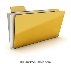 folder - Yellow brilliant folder with documents. 3d image....