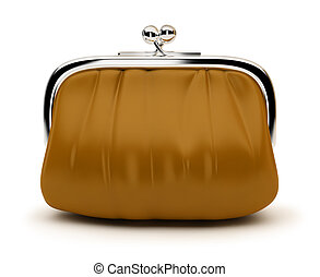 purse - Leather purse with the chromeplated rim. 3d image....