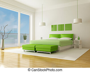 green bedroom of a beach villa - rendering the sky on back...
