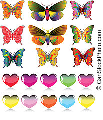 set of different butterflies and he