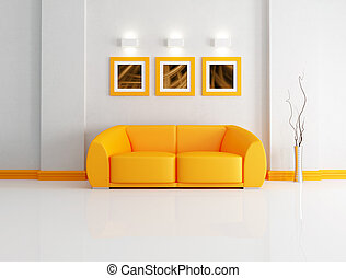 bright orange and white living room - orange modern sofa in...