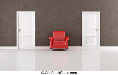 two door and red armchair - two white closed door and red...